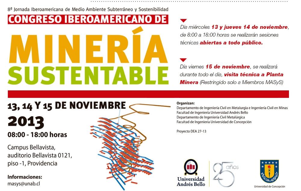 Congreso Iberoamericano Mineria Sustentable Santiago de Chile 2013 Universidad Andres Bello